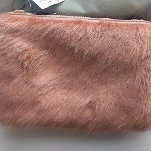 Street Level Bags - Street Level Faux Fur Pink Clutch Crossbody Bag